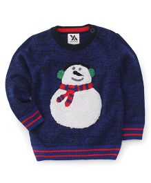 Yellow Apple Full Sleeves Sweater Snowman Design - Blue