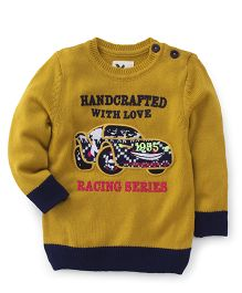 Yellow Apple Full Sleeves Sweater Car Embroidery - Yellow Navy