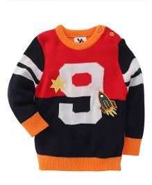 Yellow Apple Full Sleeves Sweater Rocket Embroidery - Black Orange Red