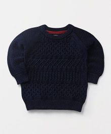 Yellow Apple Full Sleeves Pullover Sweater - Navy