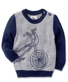 Yellow Apple Full Sleeves Sweater Bicycle Design - Navy Grey