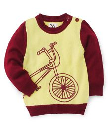 Yellow Apple Full Sleeves Sweater Bicycle Design - Yellow Maroon