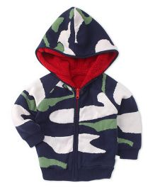 Yellow Apple Full Sleeves Hooded Sweater - Navy White Green