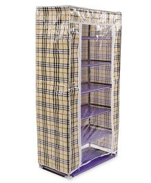 6 Shelves Storage Rack With Cover - Black Beige