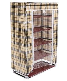 Checks Design Five Layer Storage Rack - Black Beige