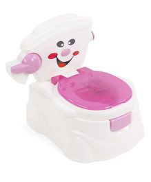 Learn To Flush Baby Potty Chair Smiley Face - Blue & White