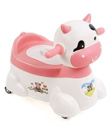 Animal Shape Musical Baby Potty Chair - White Pink