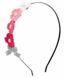 Soulfulsaai Crochet Flowers Metal Hair Band - Pink
