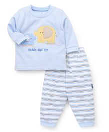 Child World  Winter Wear Suits With Daddy & Me Embroidered - Light Blue White