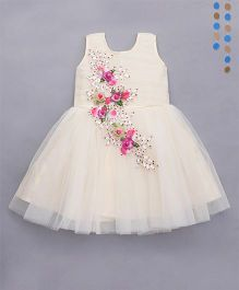 Enfance Frilled Hand Work Dress Attach Flower Broaches - Cream