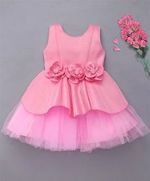 M'Princess Party Dress With Attached Flowers - Pink
