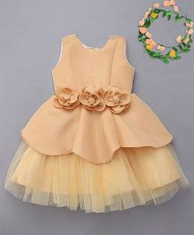 M'Princess Party Dress With Attached Flowers - Gold