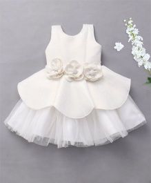M'Princess Party Dress With Attached Flowers - Off White