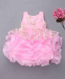 M'Princess Pretty Flower Applique Party Wear Dress - Pink