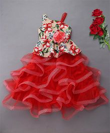 M'Princess Floral Ruffle Party Wear Gown - Red