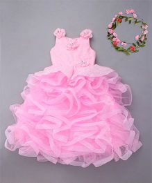 M'Princess Ruffle Party Wear Gown - Pink