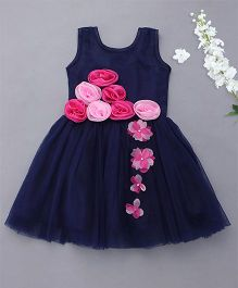 M'Princess Sleeveless Party Wear Dress With Attached Flowers - Blue