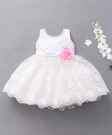 M'Princess Sleeveless Party Wear Dress - White