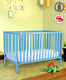 Babyhug Visby Wooden Cot - Blue