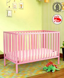 Babyhug Visby Wooden Cot - Pink