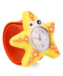 Analog Wrist Watch Star Fish Shape Dial - Orange Yellow