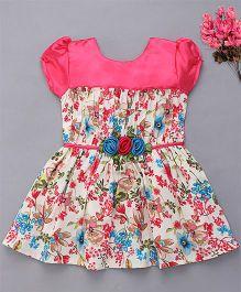 Enfance Stylish Puff Sleeves Floral Print Dress - Pink & Cream