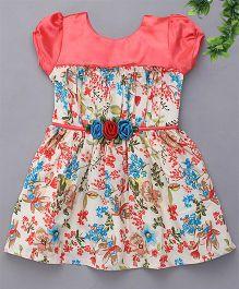 Enfance Stylish Puff Sleeves Floral Print Dress - Peach & Cream