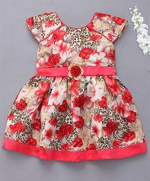 Enfance Cap Sleeves Floral Print Dress - Red