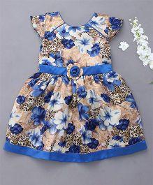 Enfance Cap Sleeves Floral Print Dress - Blue
