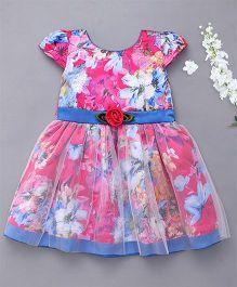 Enfance Floral Print Cap Sleeves Dress - Pink