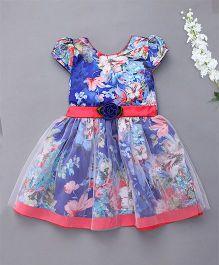 Enfance Floral Print Cap Sleeves Dress - Blue
