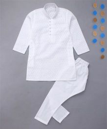 Enfance Kurta Pyjama Set With Chicken Embroidery - White