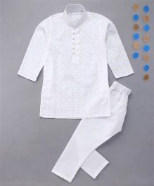 Enfance Kurta Pyjama Set With Chicken Embroidery For Boys - White