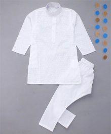 Enfance Kurta Pyjama Set With Chicken Embroidery - White