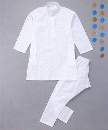 Enfance Full Sleeves Kurta Pajama Set - White
