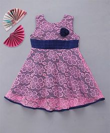 Enfance Pretty Dress With Attached Flower - Pink & Blue