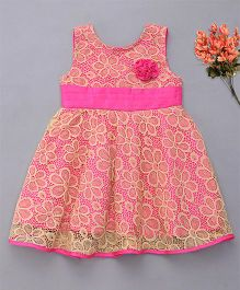Enfance Pretty Dress With Attached Flower - Cream & Pink