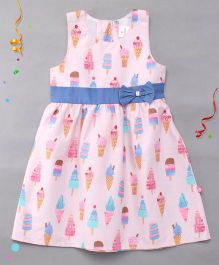 Chocopie Sleeveless Frock Bow Applique  - Pink