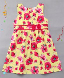 Chocopie Sleeveless Frock Bow Applique - Yellow