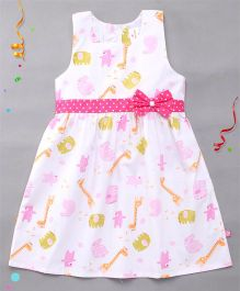 Chocopie Sleeveless Frock Dotted Bow Applique - White Pink