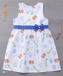 Chocopie Sleeveless Frock Dotted Bow Applique - White Blue