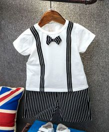 Superfie Stripe Design Bow Attached Tee With Mock Suspenders & Shorts - White