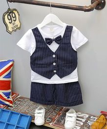 Superfie Stripe Design Bow Attached Tee With Mock Waistcoat & Shorts - Navy Blue