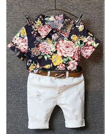 Superfie Floral Shirt With Pant - Black