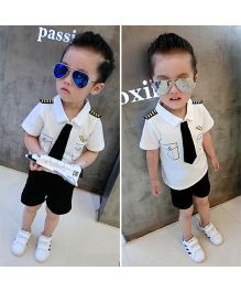Superfie Pilot Theme Shirt With Pant Set - White & Black