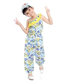 Little Pockets Store Tropical Print Ruffled Neck Jumpsuit - Yellow