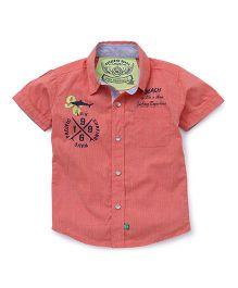 Little Kangaroos Short Sleeves Shirt Beach Print - Orange