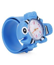 Analog Wrist Watch Fish Shape Dial - Blue