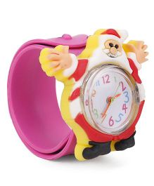 Analog Wrist Watch Santa Claus Shape - Pink Yellow