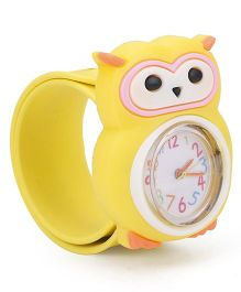 Analog Wrist Watch Owl Shape Dial - Yellow